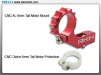 Blade Nano CP - CNC AL 6mm Tail Motor Mount Set (Red)