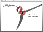 Blade Nano CP - CNC AL 6mm Tail Motor Mount w/CF 3mm Tail Boom Set (Red)
